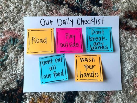 A daily checklist for at-home learning
